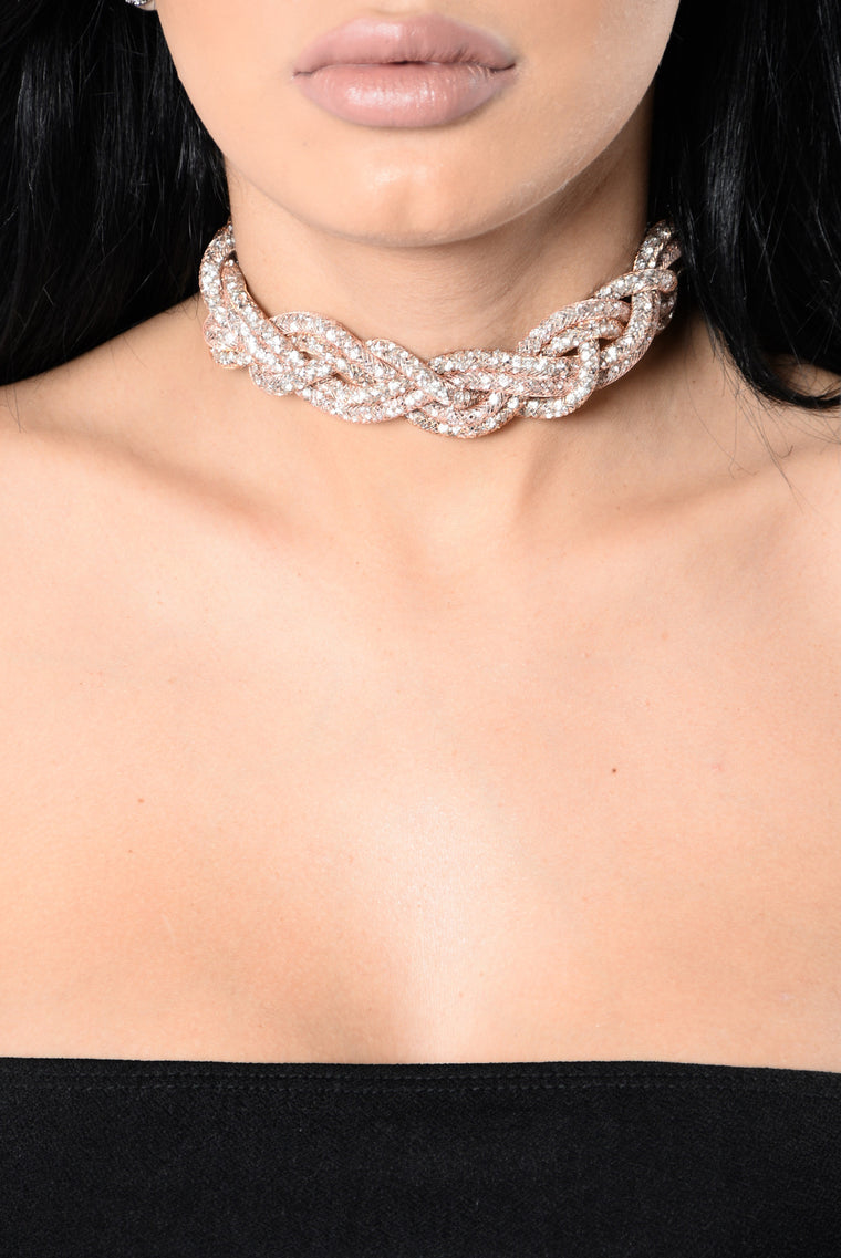 Bling Braid Choker - Rose Gold