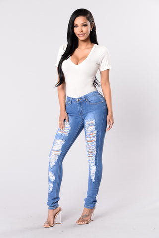 Hot Hands On Me Jeans - Medium Blue