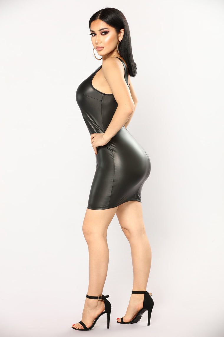 Black Magic Leather Dress - Black