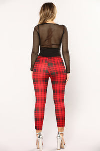 Plaid The Game Leggings - Red