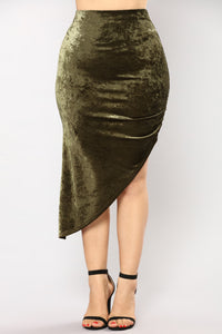 Just A Crush Skirt - Olive Angle 2
