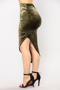 Just A Crush Skirt - Olive Angle 3