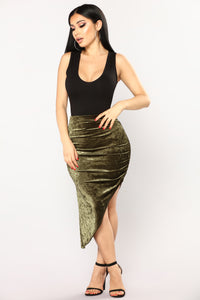 Just A Crush Skirt - Olive Angle 1
