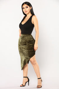 Just A Crush Skirt - Olive Angle 4