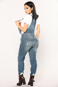 Take A Walk Overalls - Medium Blue Wash Angle 4