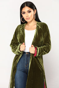 High Class Velvet Duster Robe - Olive/Magenta
