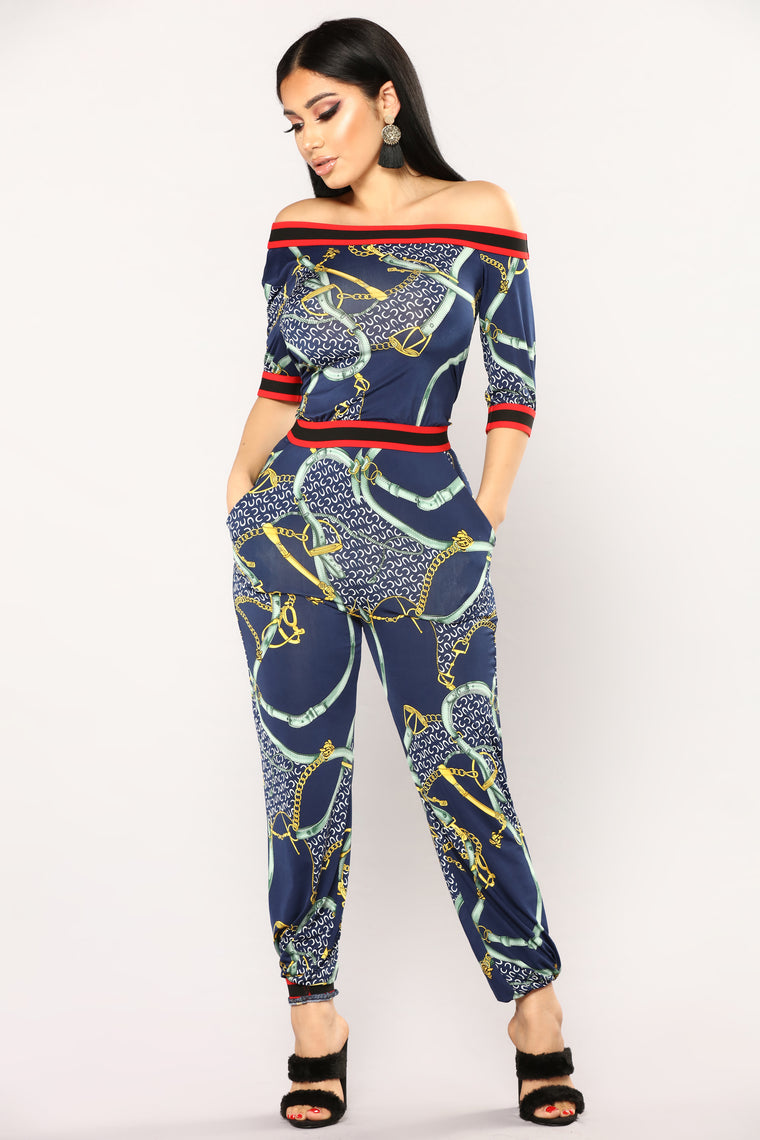 Anchor Me Down Jumpsuit  Do Not Sell - Navy