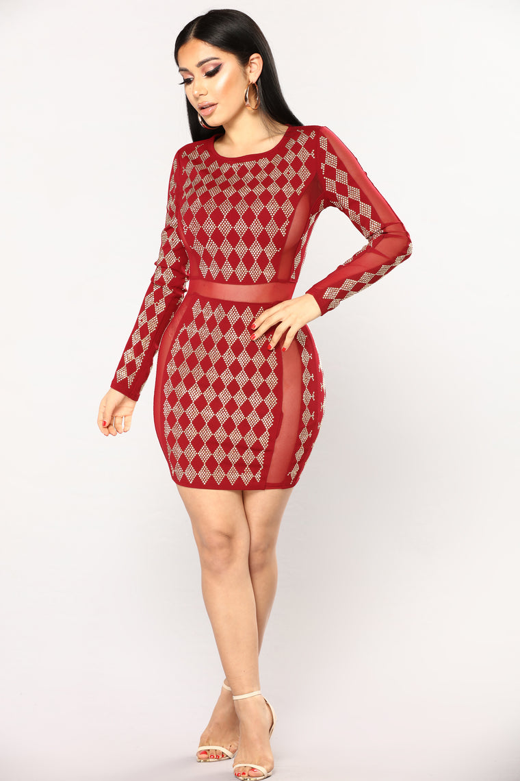 Diamond Quality Studded Dress -Burgundy/Gold