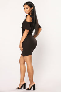 Rock My World Ruffle Dress - Black
