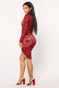 Elegant Rose Lace Dress - Burgundy