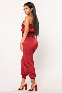 At The Table Satin Jumpsuit - Burgundy