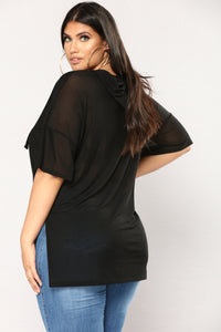 Beat You To It Mesh Top - Black