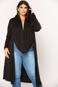 Stay Around Draped Cardigan - Black