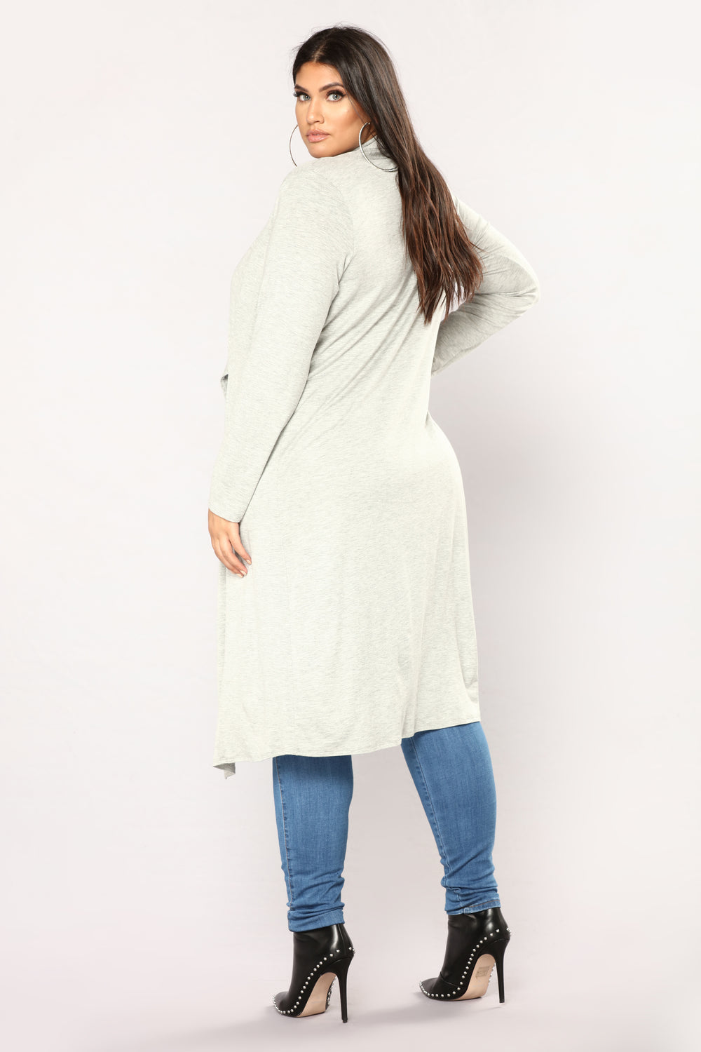 Stay Around Draped Cardigan - Heather Grey