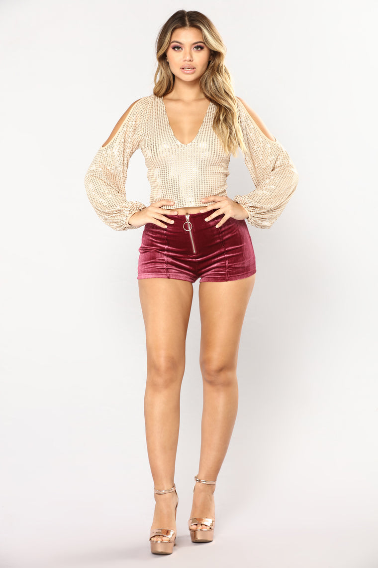 Sparkle In The Night Sequin Top - Nude/Gold