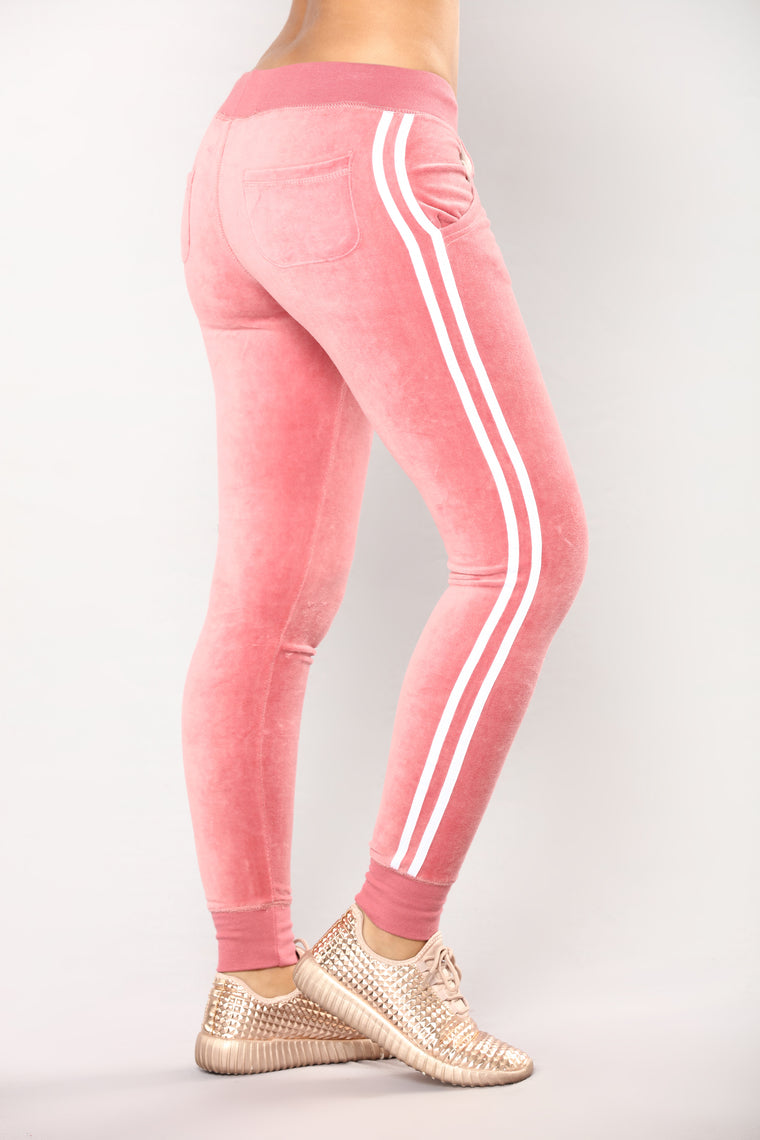 Easy Fit Velour Jogger - Begonia Pink