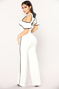 Ruffle Bell Jumpsuit - Off White/Black