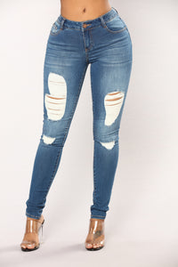 Tickle Distressed Skinny Jeans - Medium Blue Wash