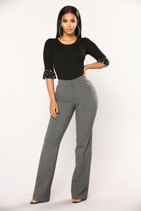 Tasha Dressy High Rise Pants - Charcoal