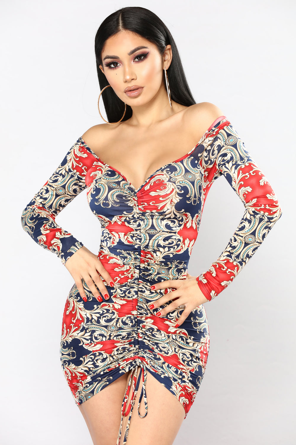 Gem Quality Ruched Dress - Navy/Red