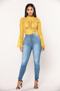 Milania Bell Sleeve Top - Mustard Angle 4