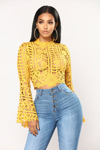 Milania Bell Sleeve Top - Mustard Angle 1