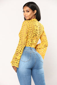 Milania Bell Sleeve Top - Mustard Angle 2