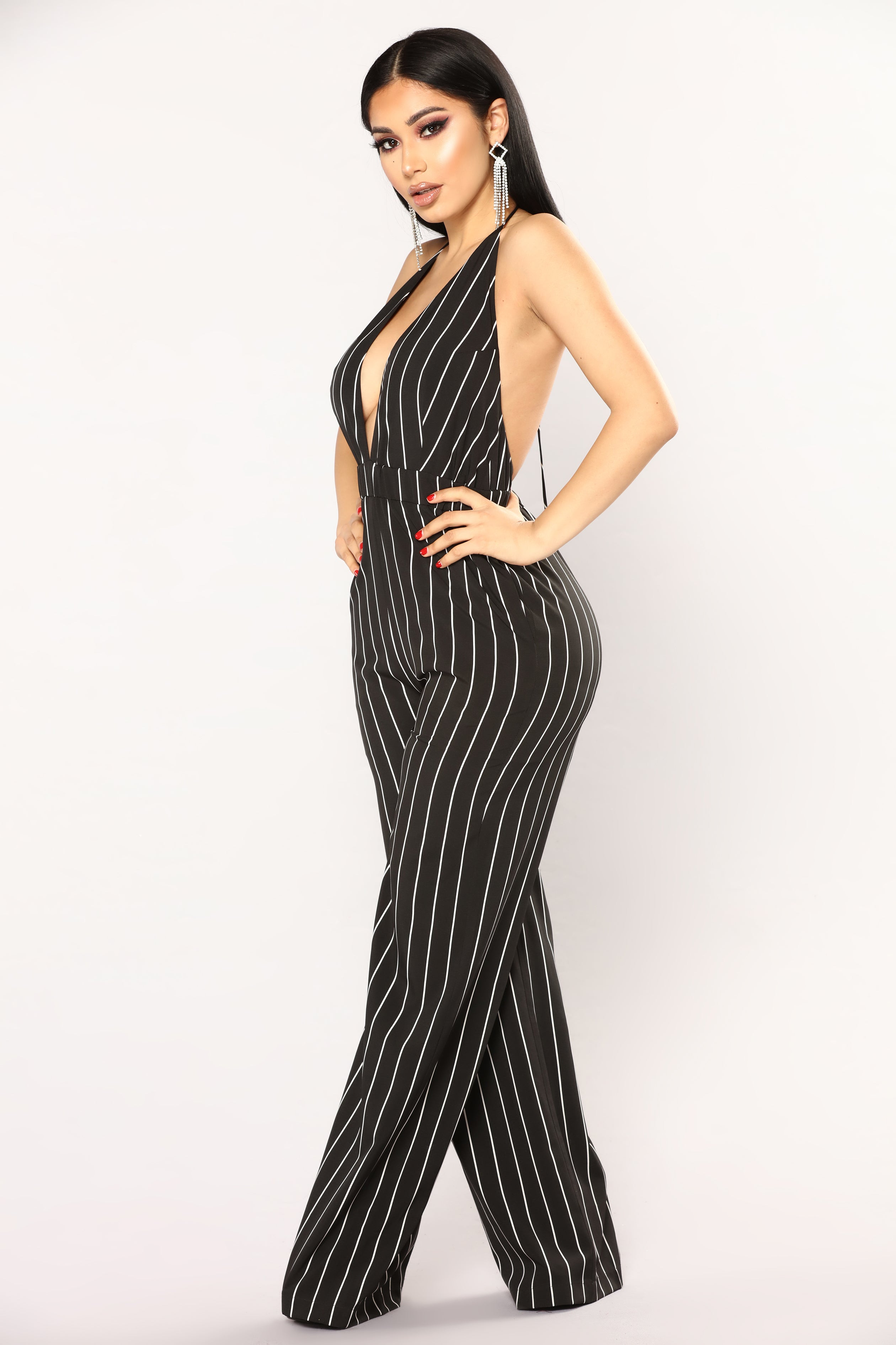 e9aa67db5394 Keep Up Striped Jumpsuit - Black White