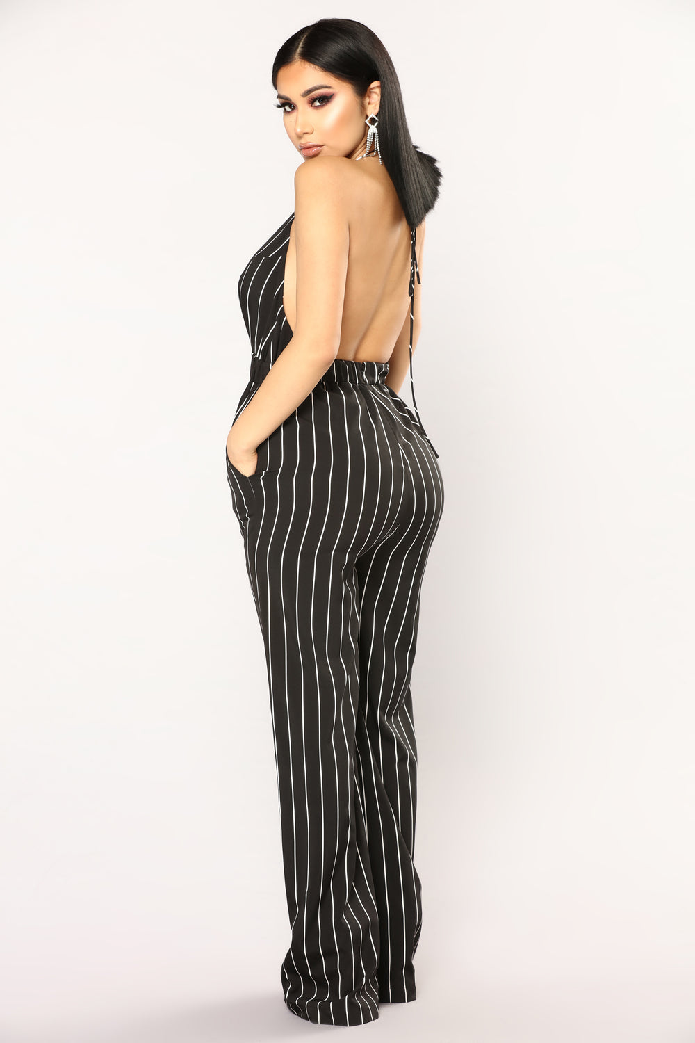 Keep Up Striped Jumpsuit - Black/White