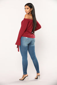 Paige Off The Shoulder Top - Burgundy