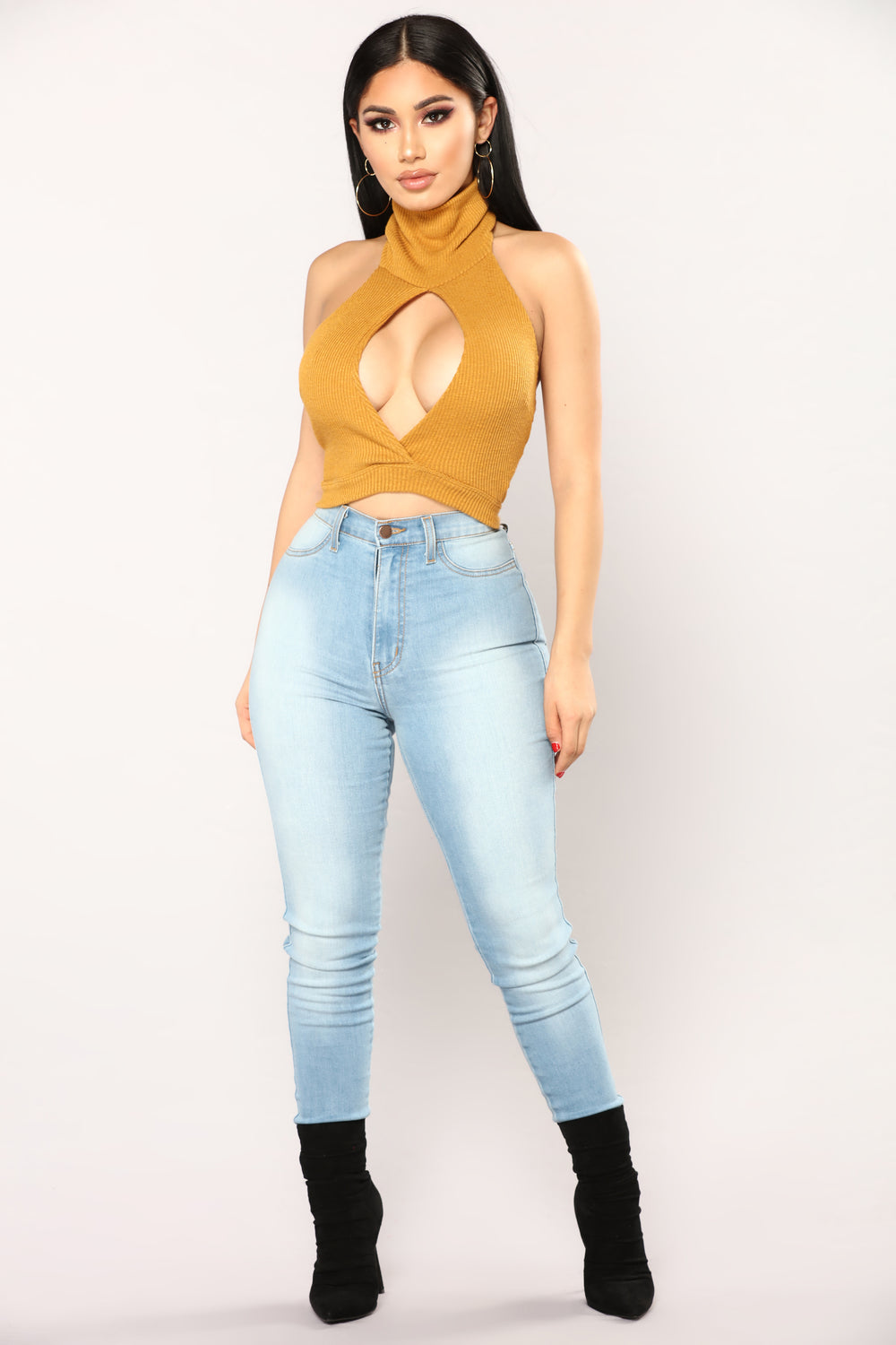 Simple Love Turtle Neck Top - Mustard