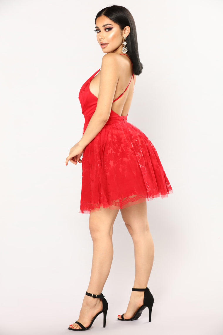 Maise Tulle Dress - Red