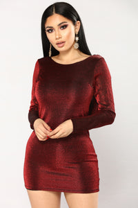 2 AM Metallic Dress - Burgundy