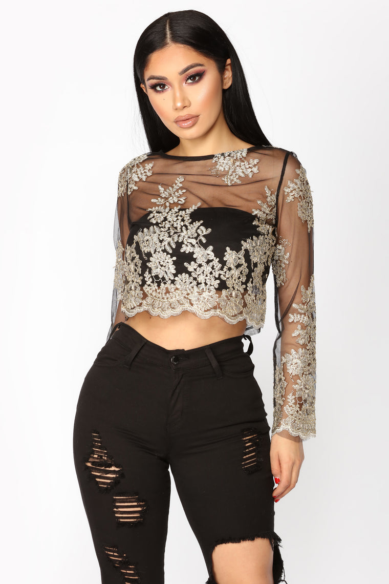 Embroidered With Gold Top - Black