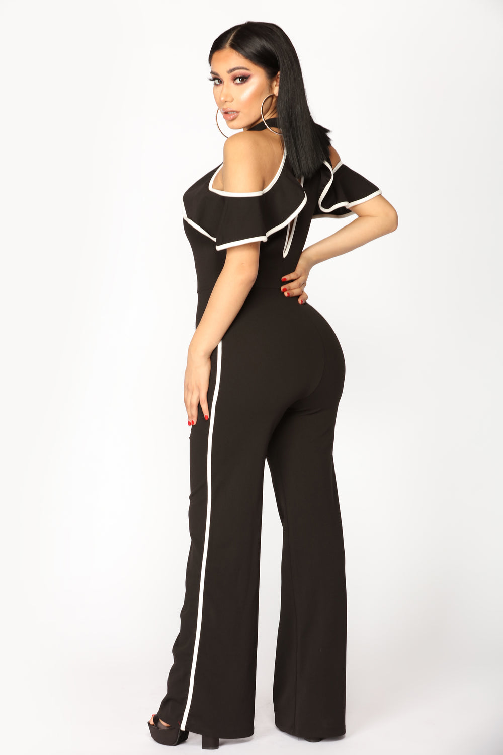 Ruffle Bell Jumpsuit - Black/Off White