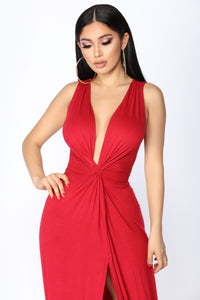 Zaira Knot Dress - Red