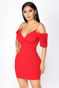 New Haven Puff Sleeve Dress - Red