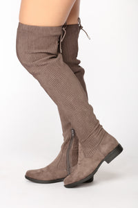 Gemma Over The Knee Flat Boot - Grey