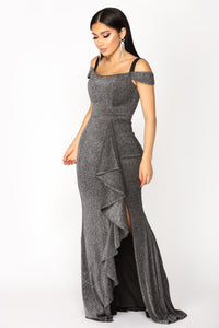 Star Quality Metallic Dress - Black