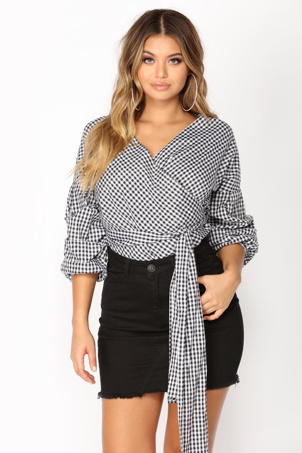 Camille Gingham Top - Black/White