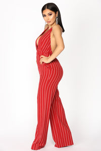 Keep Up Striped Jumpsuit - Burgundy