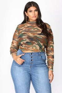 Love Is a Battlefield Mesh Top - Camo Angle 2