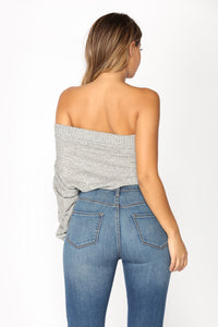 No Words One Shoulder Top - Black/White