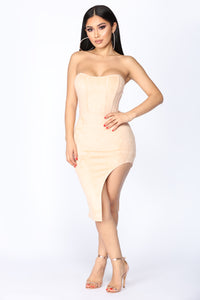 Secret Romance Suede Dress - Nude