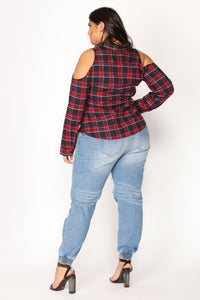 Talk Back Flannel Top - Navy