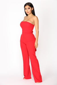 Nessa Strapless Jumpsuit - Red