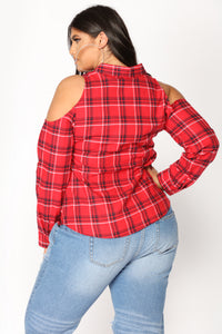 Talk Back Flannel Top - Red
