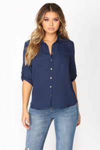 Work Flow Button Down Top - Navy