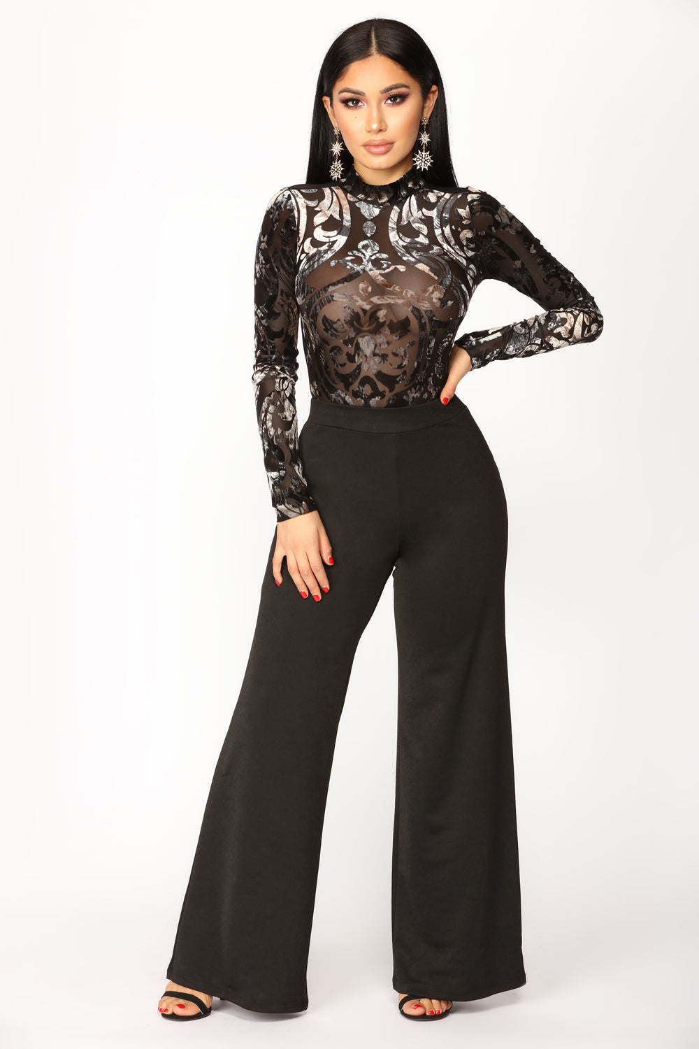Became Mine Velvet Bodysuit - Black