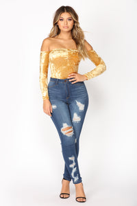 Time Slows Down Velvet Bodysuit - Gold Angle 2